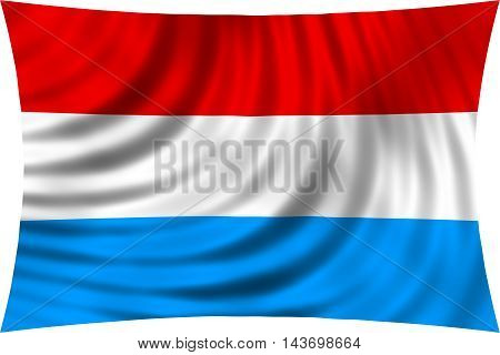 Flag of Luxembourg waving in wind isolated on white background. Luxembourgish national flag. Patriotic symbolic design. 3d rendered illustration