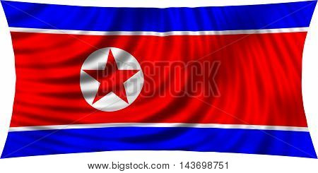 Flag of North Korea waving in wind isolated on white background. North Korean national flag. Patriotic symbolic design. 3d rendered illustration