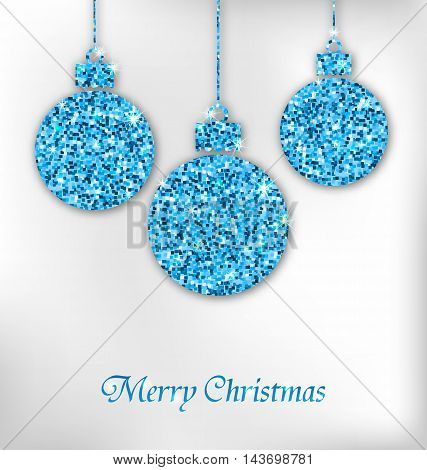 Illustration Christmas Balls with Sparkle Surface for Celebration Card - Vector