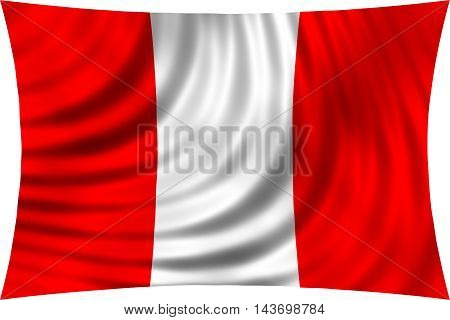 Flag of Peru waving in wind isolated on white background. Peruvian national flag. Patriotic symbolic design. 3d rendered illustration