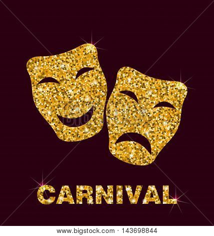 Illustration Gold Glittering Carnival Theater Mask on Dark Background - Vector