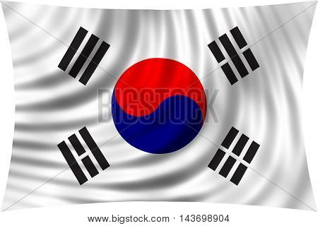 Flag of South Korea waving in wind isolated on white background. South Korean national flag. Patriotic symbolic design. 3d rendered illustration