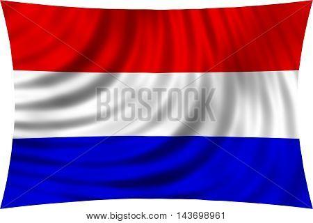 Flag of Netherlands waving in wind isolated on white background. Netherlands national flag. Patriotic symbolic design. 3d rendered illustration