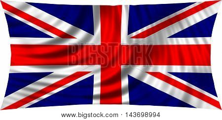 Flag of the United Kingdom waving in wind isolated on white background. British national flag. Union Jack. Patriotic symbolic design. 3d rendered illustration