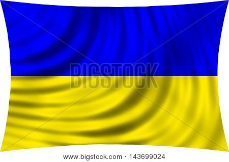 Flag of Ukraine waving in wind isolated on white background. Ukrainian national flag. Patriotic symbolic design. 3d rendered illustration