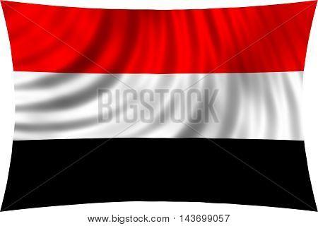 Flag of Yemen waving in wind isolated on white background. Yemeni national flag. Patriotic symbolic design. 3d rendered illustration