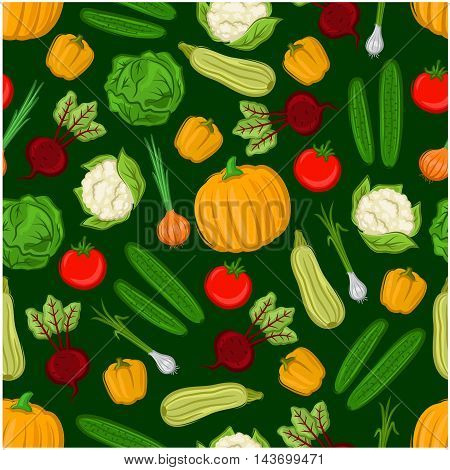 Organic vegetables seamless background. Vector vegetarian wallpaper with pattern of tomato, pepper, beet, squash, zucchini, paprika, cauliflower, pumpkin cabbage onion cucumber