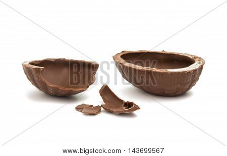 chocolate egg dessert on a white background