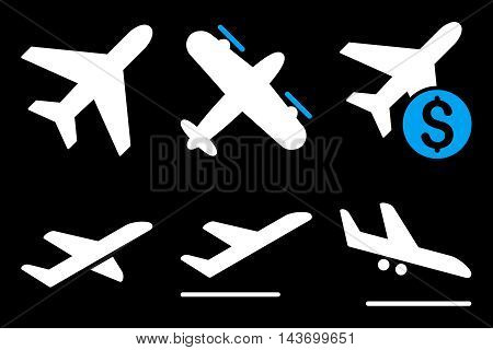 Aviation glyph icons. Pictogram style is bicolor blue and white flat icons with rounded angles on a black background.