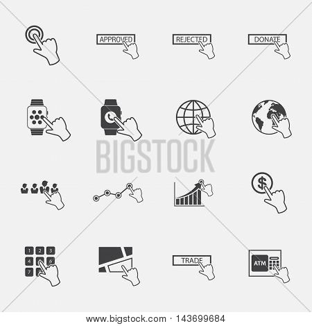 hand pointer for business  icons set. vector.