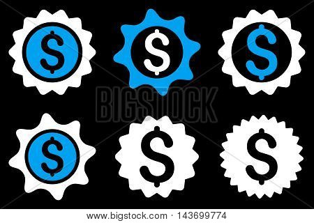 Bank Seal glyph icons. Pictogram style is bicolor blue and white flat icons with rounded angles on a black background.
