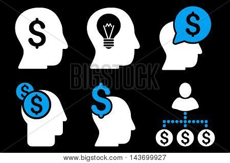 Businessman Idea glyph icons. Pictogram style is bicolor blue and white flat icons with rounded angles on a black background.