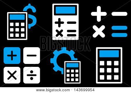 Calculator glyph icons. Pictogram style is bicolor blue and white flat icons with rounded angles on a black background.