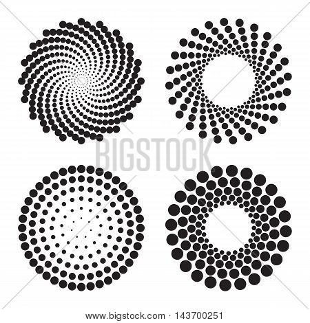 Four halftone circles of dots. Design elements. Vector illustration