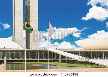 BRASILIA, BRAZIL - CIRCA JAN 2016: The Brazilian National Congress in Brasilia, Brazil