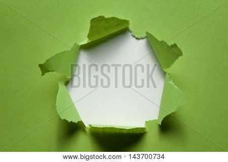 Green torn paper with place for text
