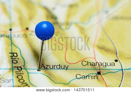 Azurduy pinned on a map of Bolivia