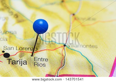 Entre Rios pinned on a map of Bolivia
