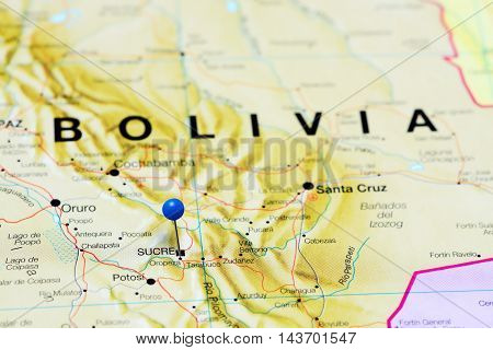 Sucre pinned on a map of Bolivia