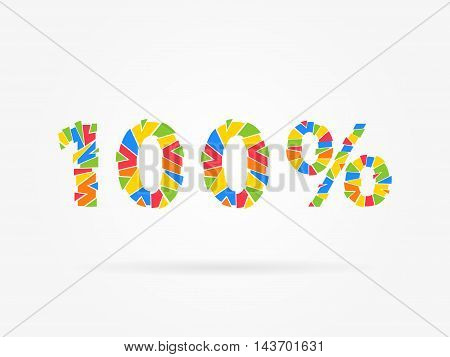 100 % discount colorful vector illustration on grey background. 100 (one hundred) percent off discount creative promotion concept. Special offer isolated element for  banner, coupon, label, retail marketing.