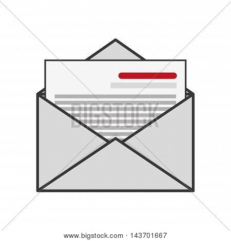 flat design open envelope with document icon vector illustration