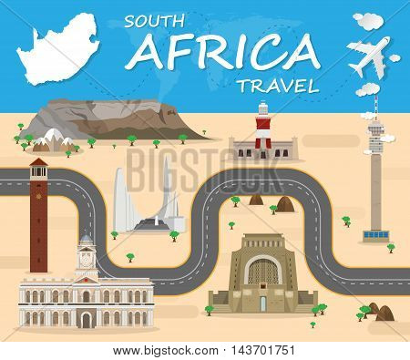 SOUTH AFRICA Landmark Global Travel And Journey Infographic Vector Design Template.vector illustration