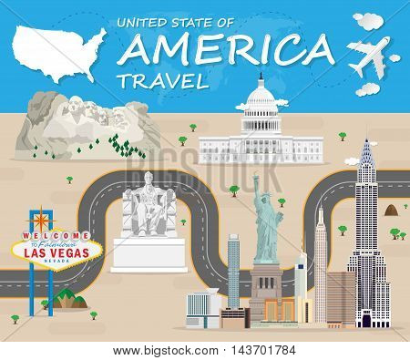 USA Landmark Global Travel And Journey Infographic Vector Design Template.vector illustration