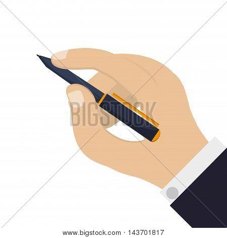 flat design hand holding elegant pen icon vector illustration