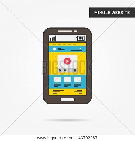 Mobile website vector linear (line) illustration. Web browser smartphone app technology creative concept. Mobile web interface (webpage, layers, layout, template, content) graphic design.