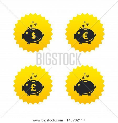 Piggy bank icons. Dollar, Euro and Pound moneybox signs. Cash coin money symbols. Yellow stars labels with flat icons. Vector