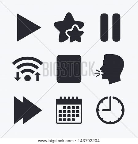 Player navigation icons. Play, stop and pause signs. Next song symbol. Wifi internet, favorite stars, calendar and clock. Talking head. Vector