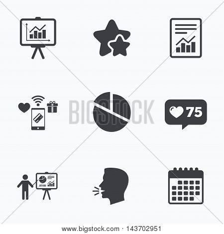 File document with diagram. Pie chart icon. Presentation billboard symbol. Supply and demand. Flat talking head, calendar icons. Stars, like counter icons. Vector