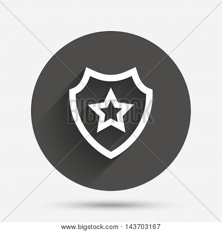 Shield with star icon. Favorite protection symbol. Circle flat button with shadow. Vector