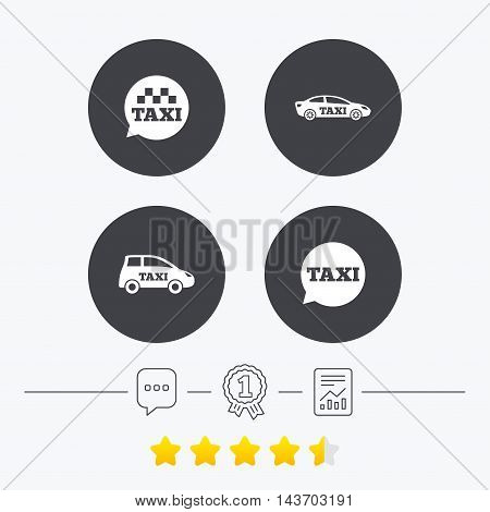 Public transport icons. Taxi speech bubble signs. Car transport symbol. Chat, award medal and report linear icons. Star vote ranking. Vector