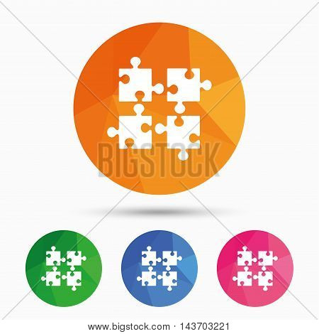 Puzzles pieces sign icon. Strategy symbol. Ingenuity test game. Triangular low poly button with flat icon. Vector