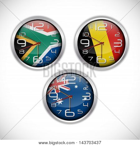 Illustration of Nations wall clocks of flag