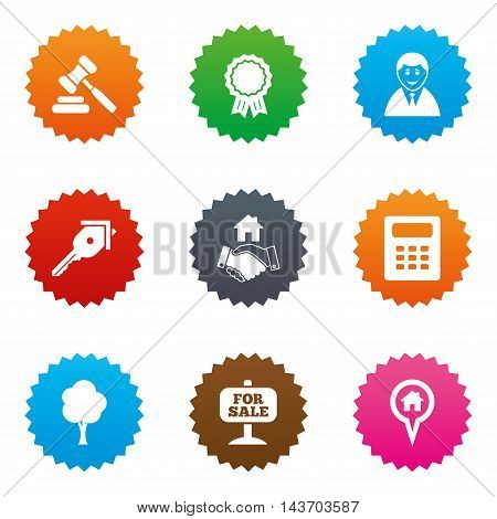 Real estate, auction icons. Handshake, for sale and calculator signs. Key, tree and award medal symbols. Stars label button with flat icons. Vector