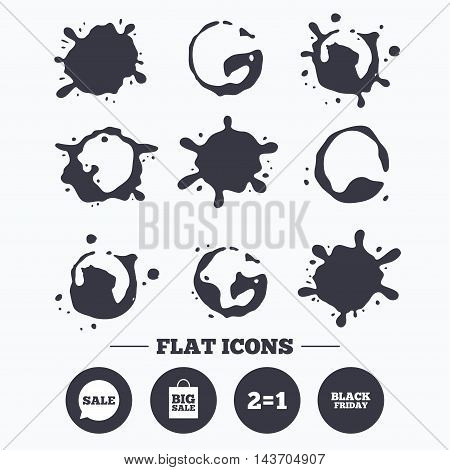 Paint, coffee or milk splash blots. Sale speech bubble icons. Two equals one. Black friday sign. Big sale shopping bag symbol. Smudges splashes drops. Vector