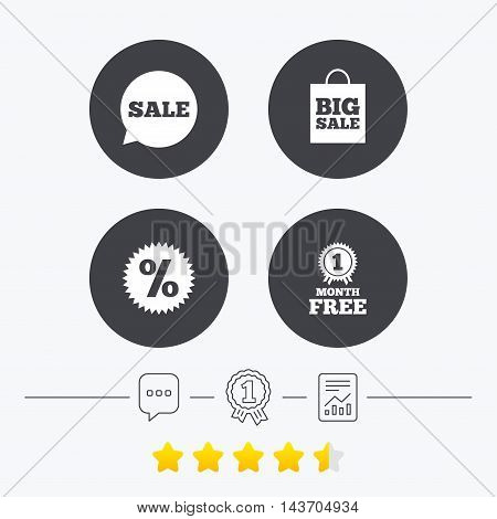 Sale speech bubble icon. Discount star symbol. Big sale shopping bag sign. First month free medal. Chat, award medal and report linear icons. Star vote ranking. Vector