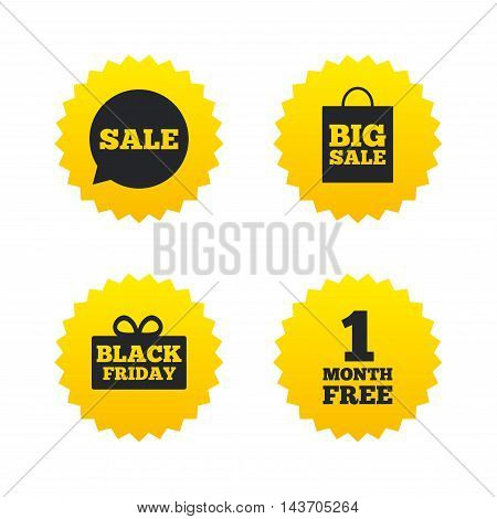 Sale speech bubble icon. Black friday gift box symbol. Big sale shopping bag. First month free sign. Yellow stars labels with flat icons. Vector