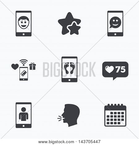 Selfie smile face icon. Smartphone video call symbol. Self feet or legs photo. Flat talking head, calendar icons. Stars, like counter icons. Vector