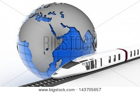 Train rides on rails on the background of the planet earth. 3d render illustration