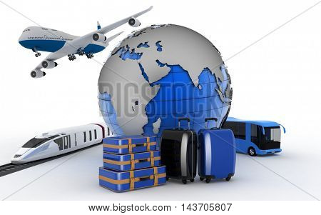 The plane, the train, the bus and globe. International transport concept for trips and tourism.