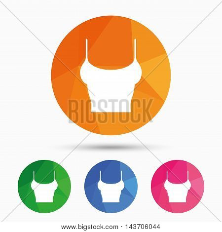 Women T-shirt sign icon. Intimates and sleeps symbol. Triangular low poly button with flat icon. Vector