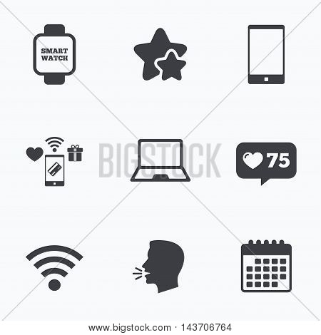 Notebook and smartphone icons. Smart watch symbol. Wi-fi sign. Wireless Network symbol. Mobile devices. Flat talking head, calendar icons. Stars, like counter icons. Vector