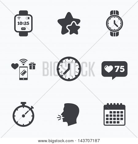 Smart watch icons. Mechanical clock time, Stopwatch timer symbols. Wrist digital watch sign. Flat talking head, calendar icons. Stars, like counter icons. Vector