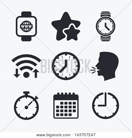 Smart watch with internet icons. Mechanical clock time, Stopwatch timer symbols. Wrist digital watch sign. Wifi internet, favorite stars, calendar and clock. Talking head. Vector