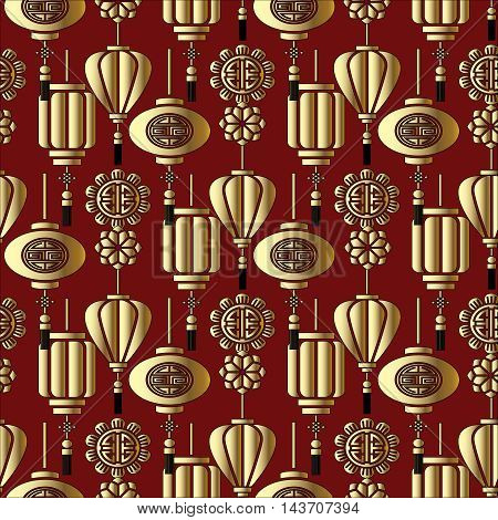 Stylish vector seamless pattern with gold chinese symbols on the red background.