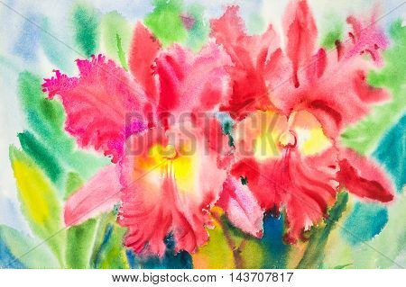 watercolor original painting red color of orchid flowers and green leaves of blue color background.