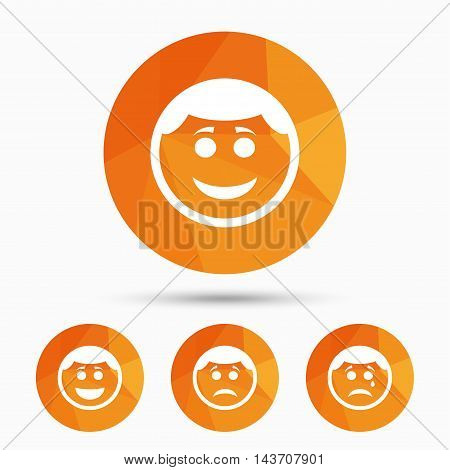 Circle smile face icons. Happy, sad, cry signs. Happy smiley chat symbol. Sadness depression and crying signs. Triangular low poly buttons with shadow. Vector